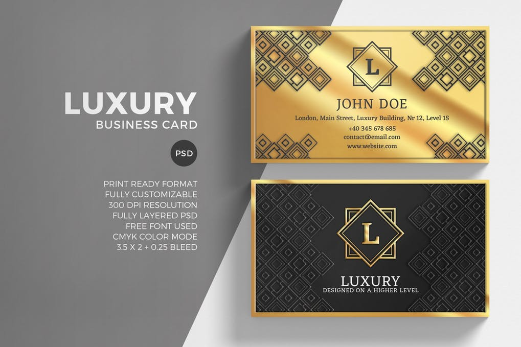 Luxury Business Card With Pattern Print On It