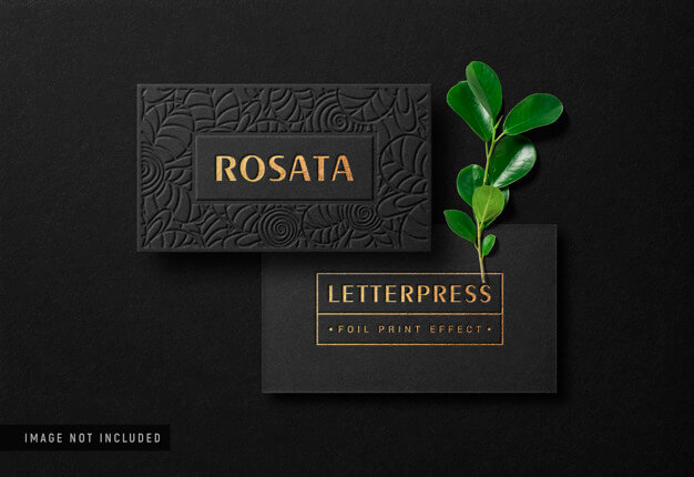 Luxury business card mockup with gold letterpress effect Premium Psd