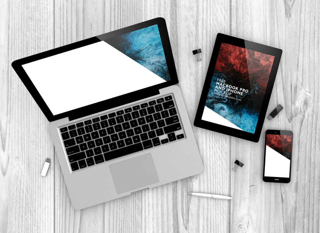 Free MacBook Pro and iPhone Mockup PSD Template