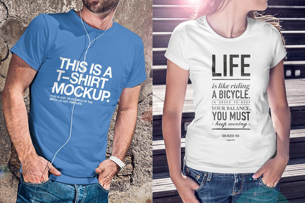 Male And Female T-shirt Design Mockup.