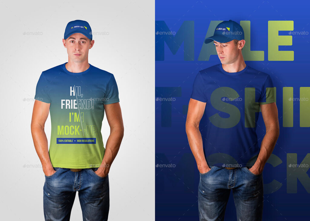 Male T-Shirt and Baseball Cap Mockups