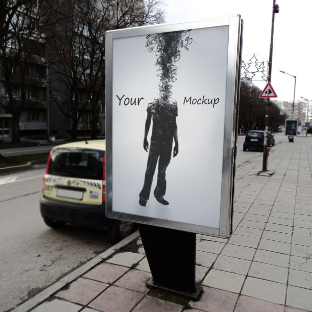 Man Photo Print Roadside Billboard Mockup