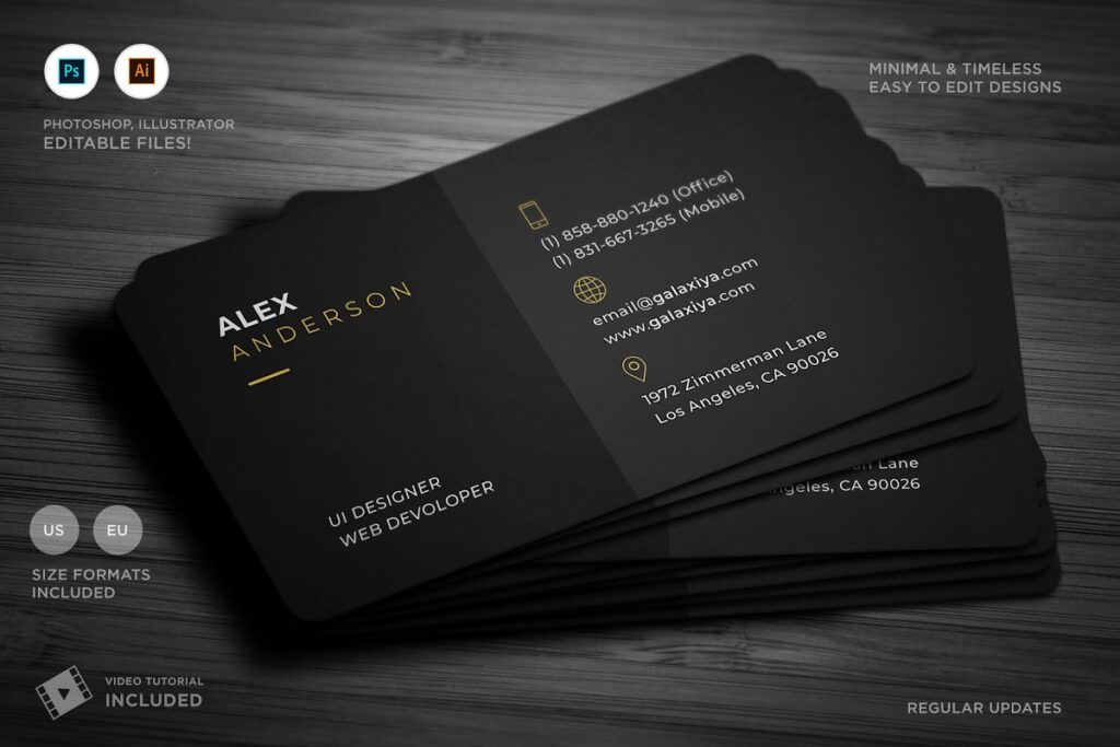 Matt Black Business Card Template