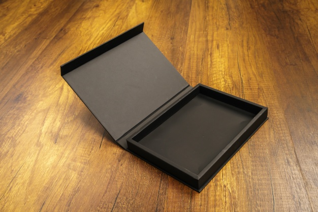 Matt black cardboard mockup box.