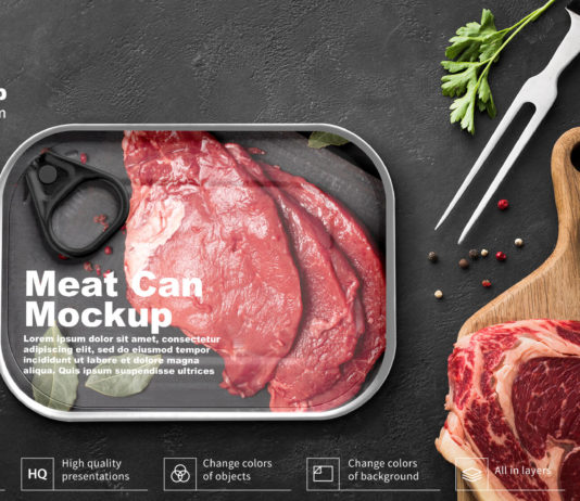 Free Meat Can Mockup PSD Template