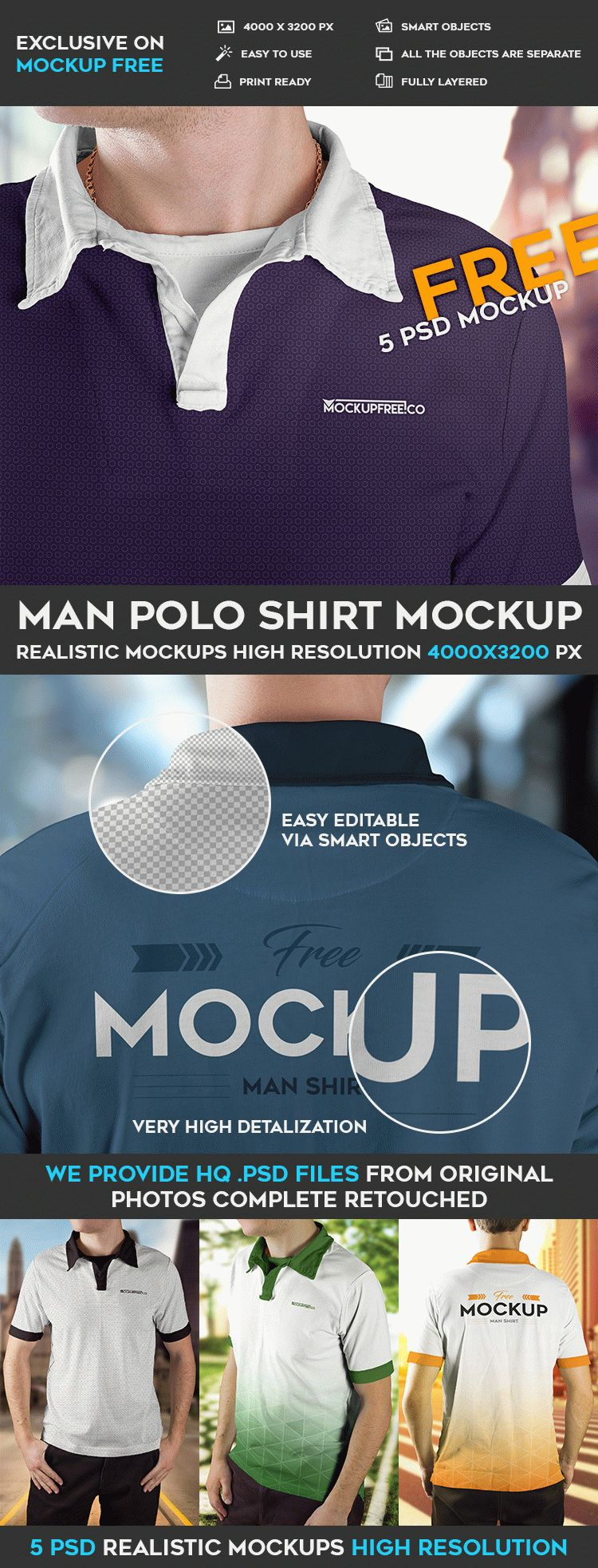 Men Polo shirts Mockup