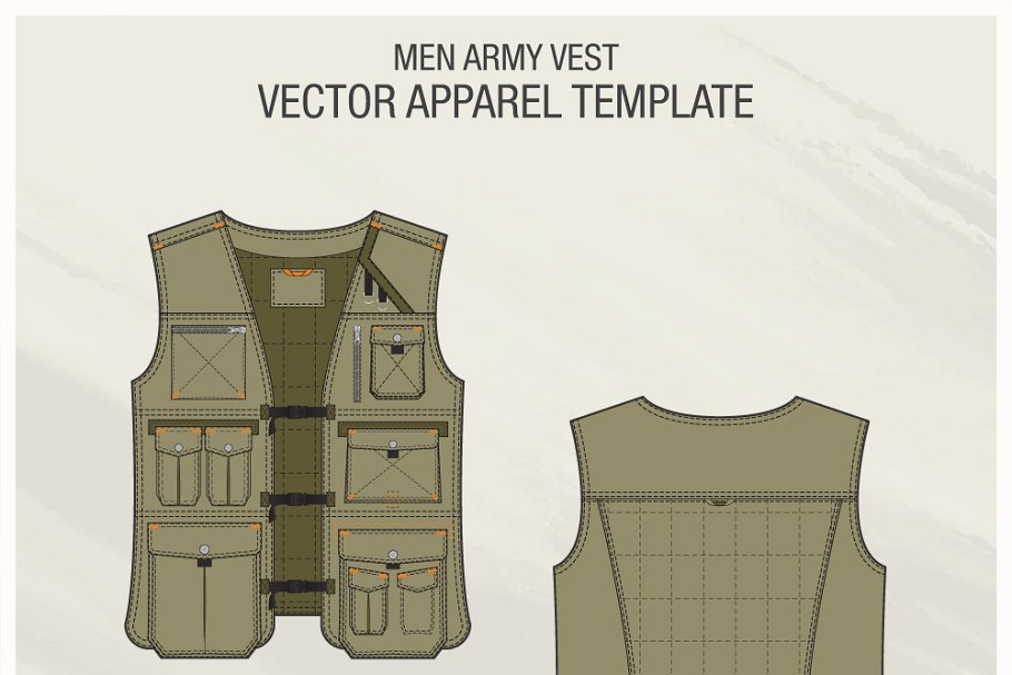 Men's Fashionable Army Vest Vector Template.