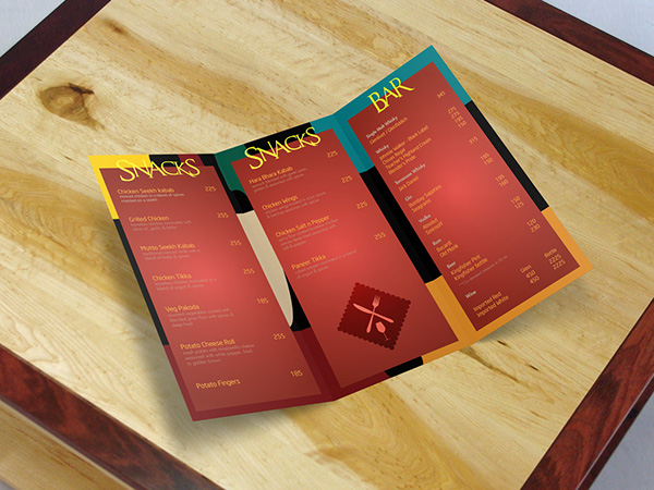 Menu card Design for a Snack & Bar