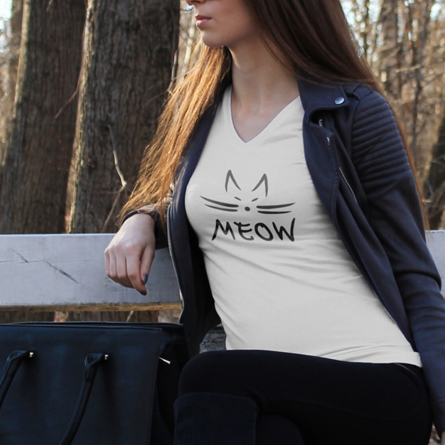 Meow Printed T-shirt with jacket PSD Format