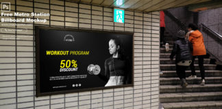 Free Metro Station Billboard Mockup PSD Template