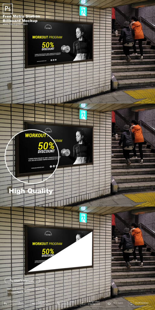 Free Metro Station Billboard Mockup PSD Template