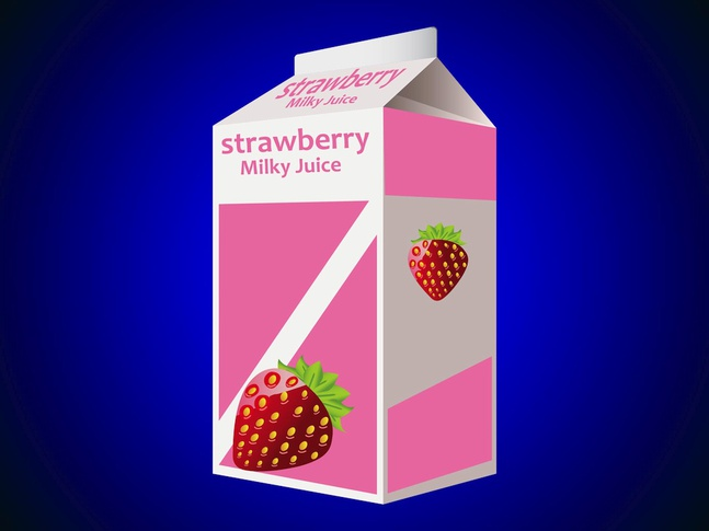 Milk And Strawberry Juice Box Vector