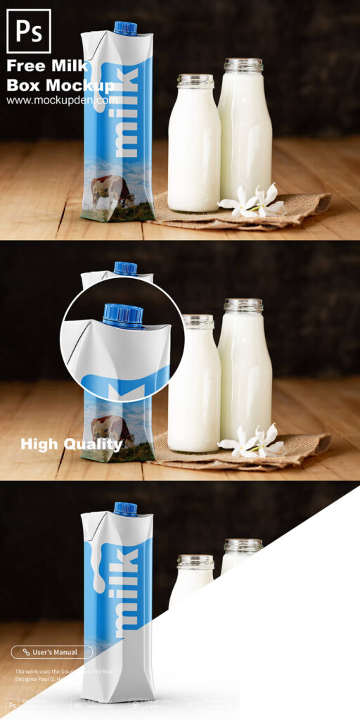 Free Milk Box Mockup PSD Template