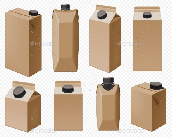 Milk and Juice Pack Realistic Carton Package