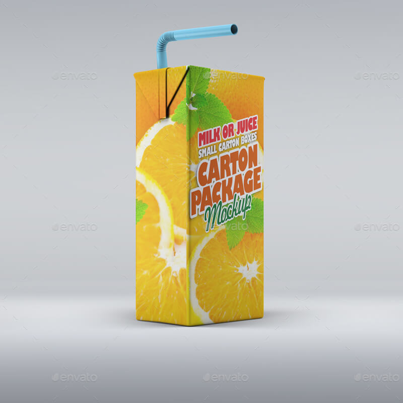 Milk or Juice Package Box Mock-Up