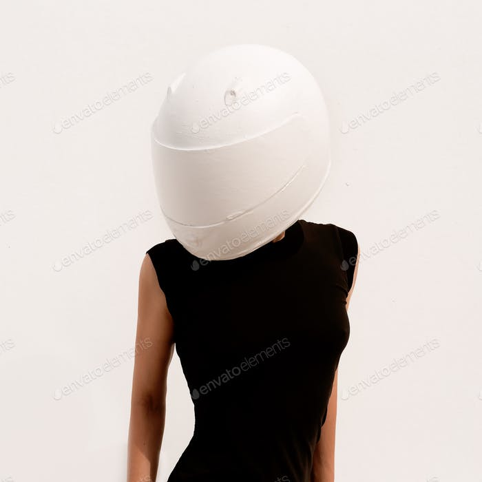 Model Girl Picture With Face Covered From A White Hard Helmet