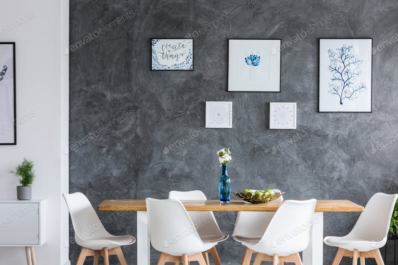 Monochromatic Dinning Room Wall Gallery Design PSD Template