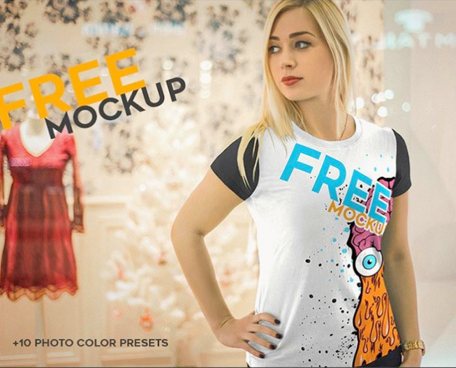 Multi Color Girls t-shirts Mockup