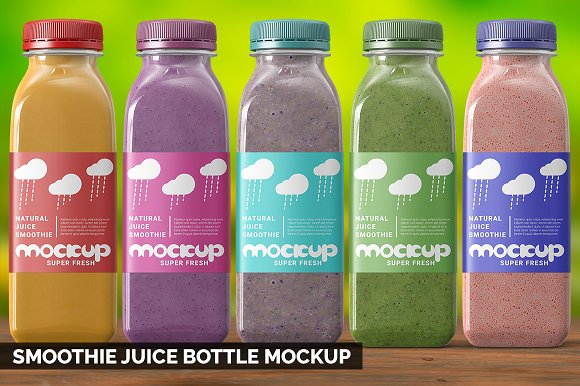 Multi-Color Realistic Juice Bottle Mockup