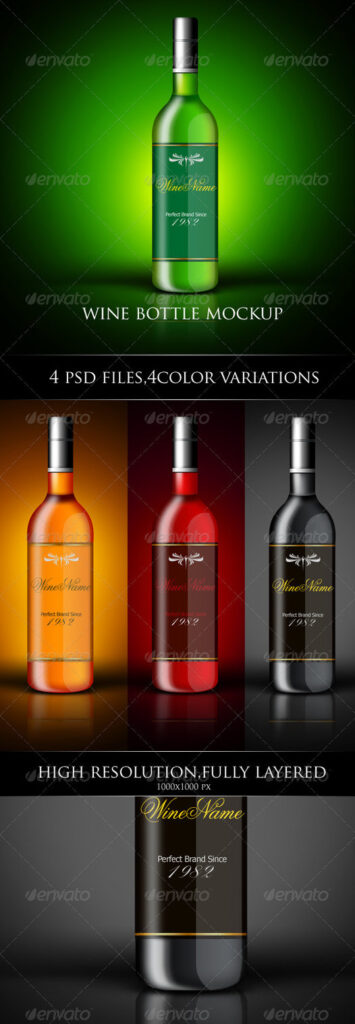 Multi-Color Wine Bottle Label Design Illustration
