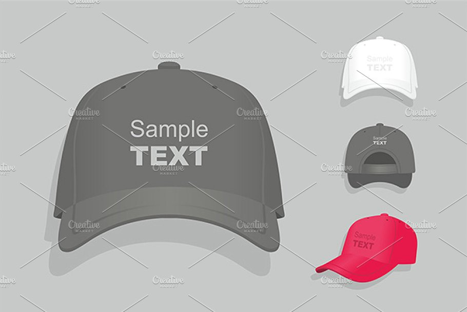 Multiple Baseball Cap Illustration On Grey Background
