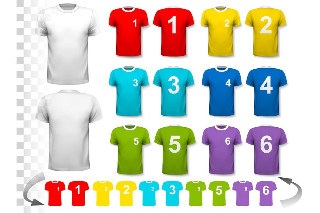 Multiple Color T-Shirt Illustration With Number Printed On It