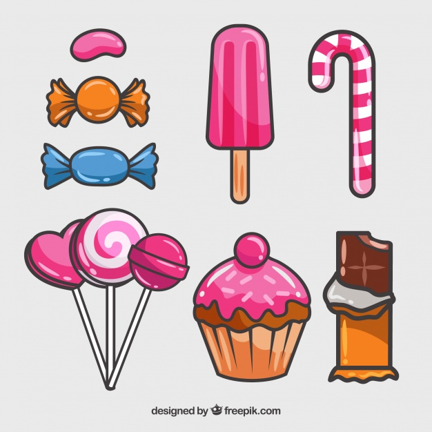 Multiple Design of Candies Vector Mockup: