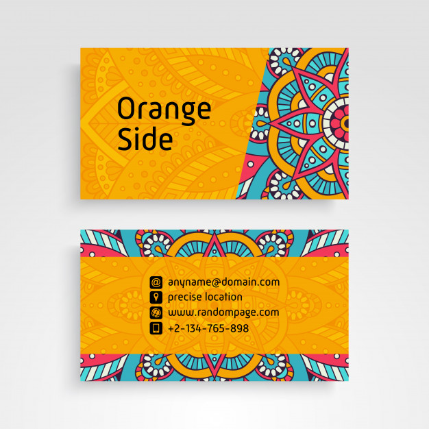 Name Card PSD Design With Ornamental Floral Design