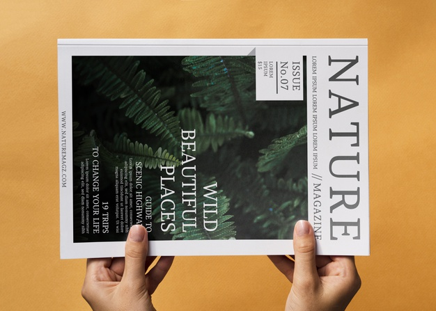 Nature magazine mock up on orange background Free Psd