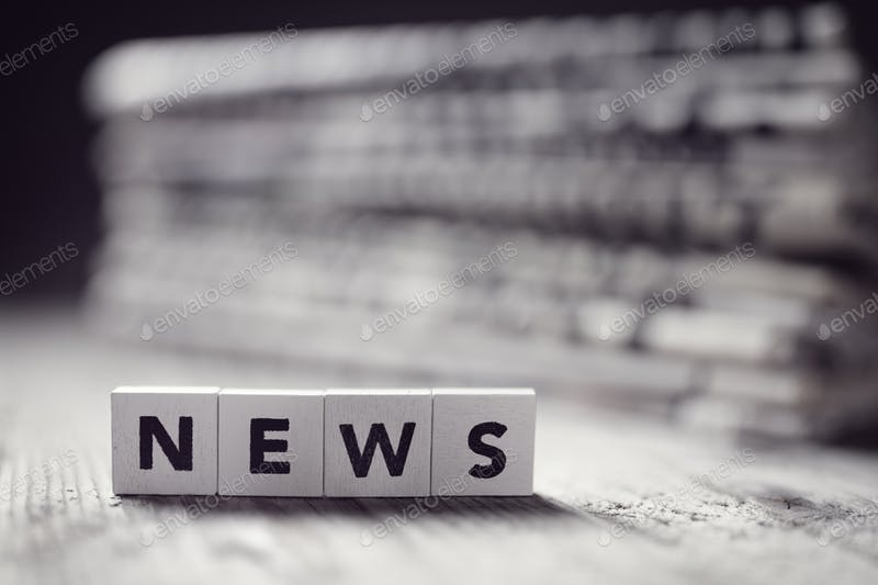 News Button On Table With Blurred Background Mockup
