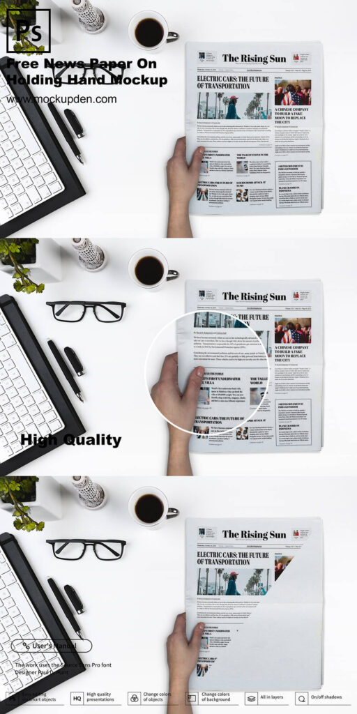 Free Hand Holding Newspaper Mockup PSD Template