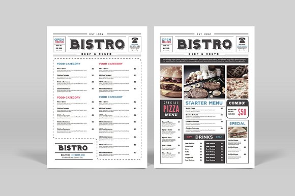 Newspaper Style Food Menu Card
