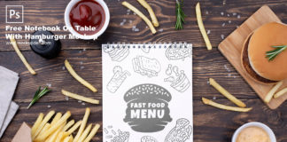 Free Notebook On Table With Hamburger Mockup PSD Template