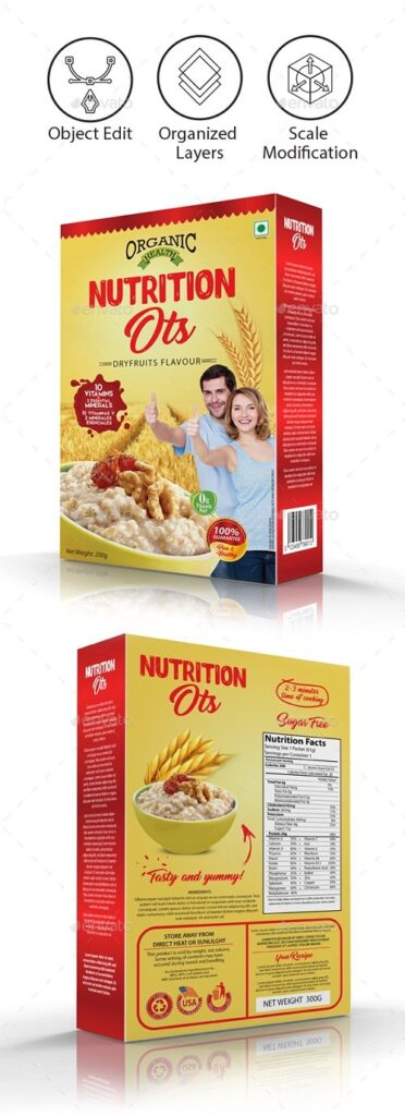 Nutrition Cereal Box PSD Template