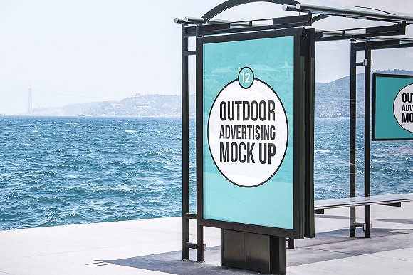 Ocean Background Outdoor Advertisement Template Board