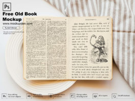 Free Old Book Mockup PSD Template