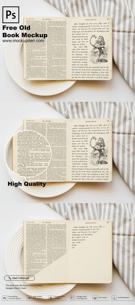 FreeVintage Old Book Mockup PSD Template