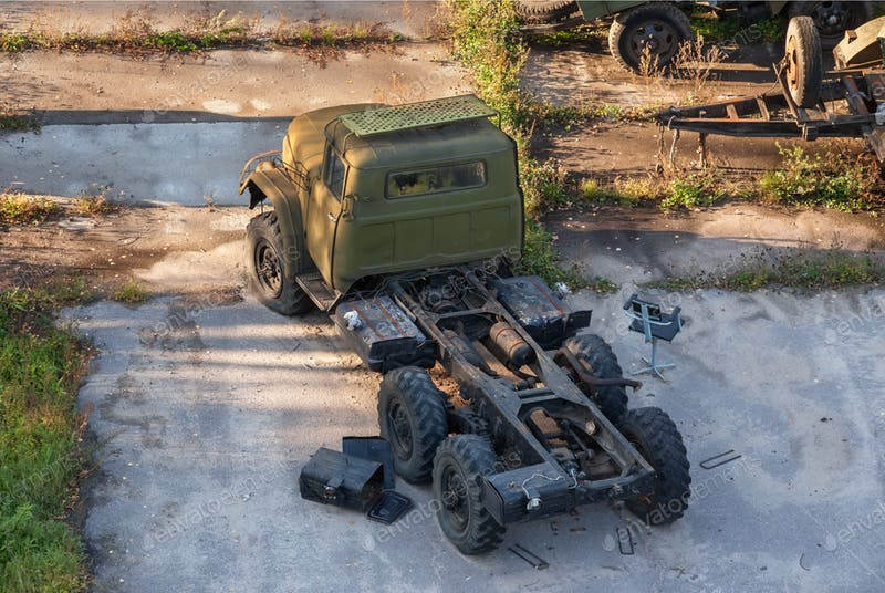 Old Russian Army Truck Mockup.