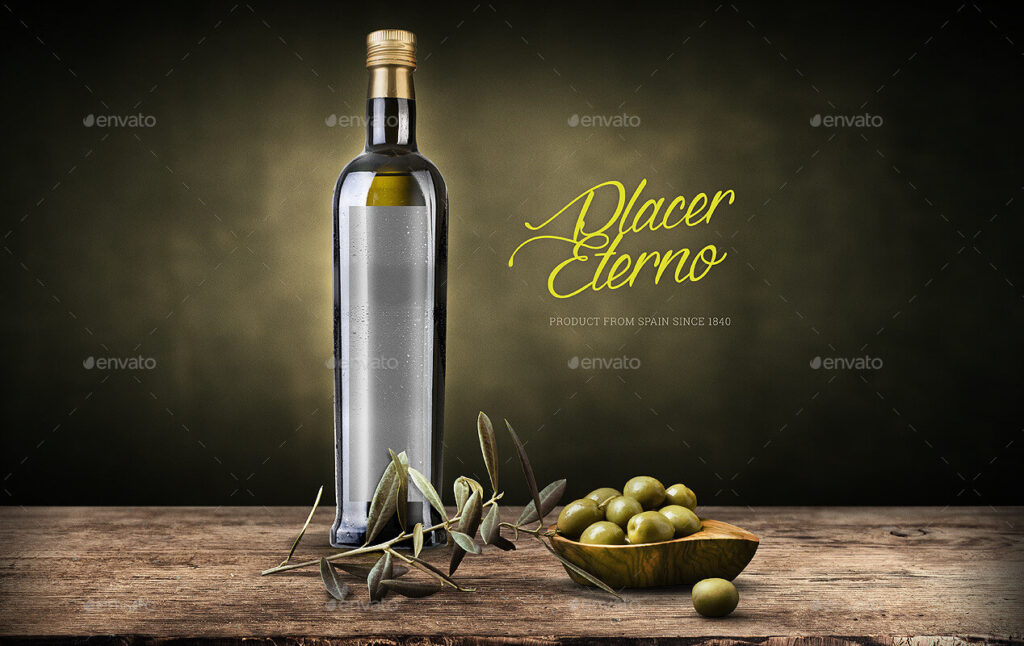 Olive Oil And Vinegar Bottle Label Mockup