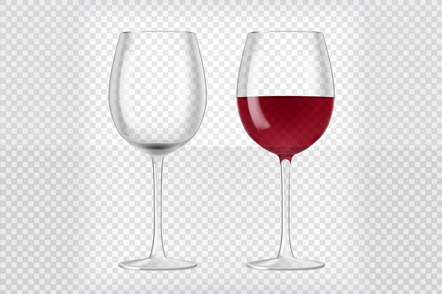 One Blank And One Red Wine Filled Glass Illustration
