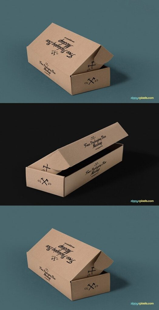 Open Kraft Box PSD File