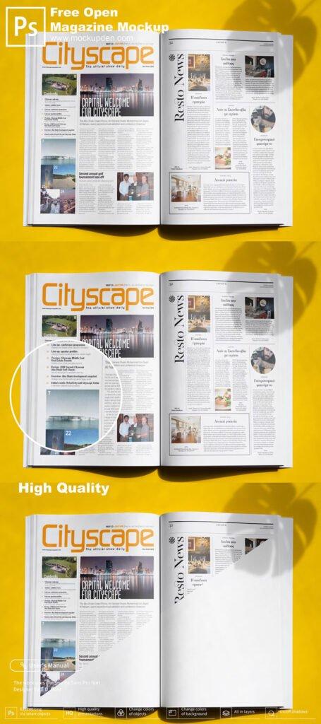 Free Open Magazine Mockup PSD Template