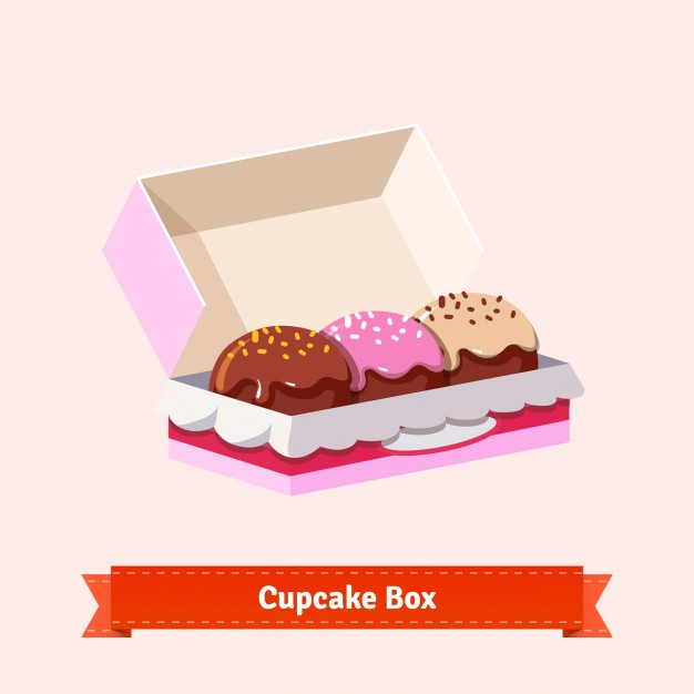 Open Pink Color Donuts Packing Paper Box