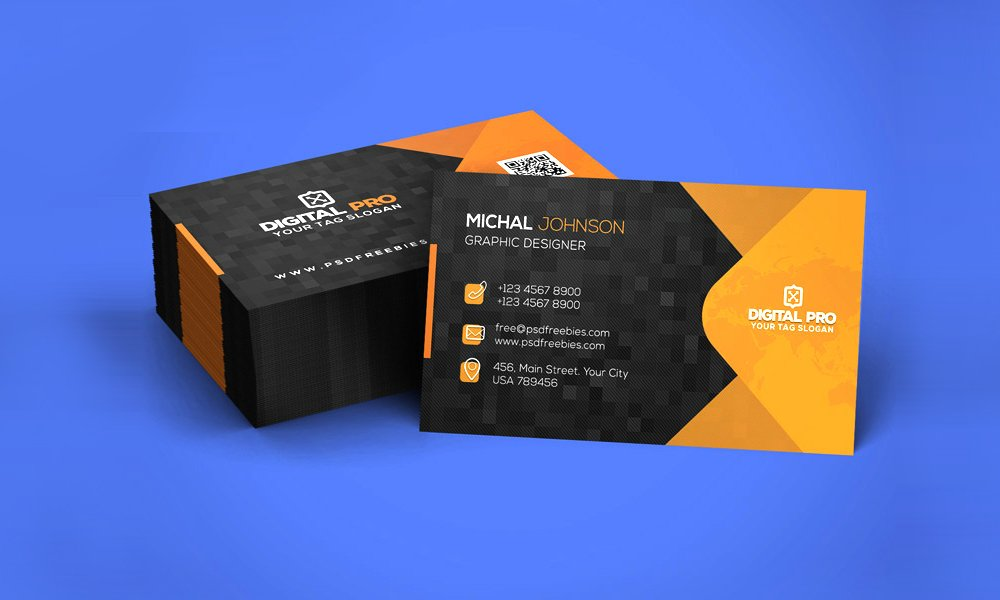 Orange And Black Stacked Business Card
