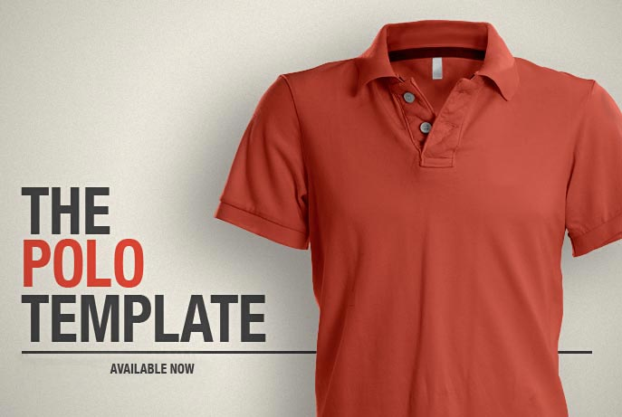 Orange Collar polo shirt PSD Mockup