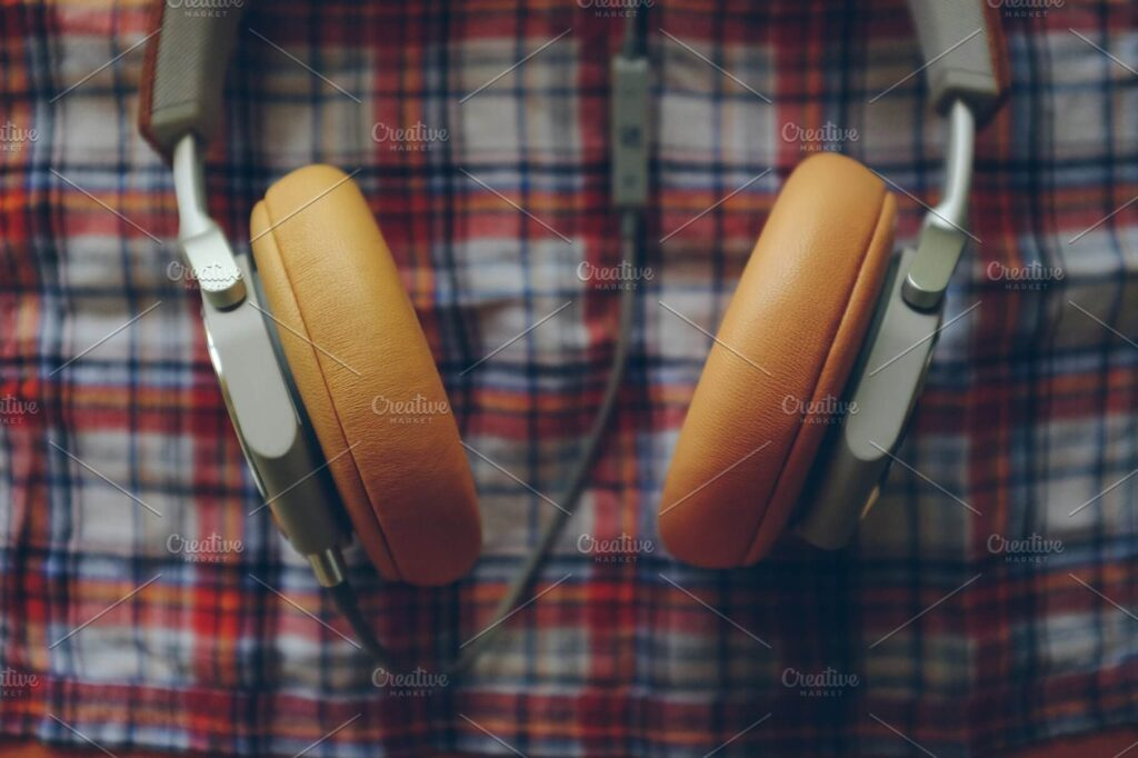 Orange Colored Headphone Mockup.
