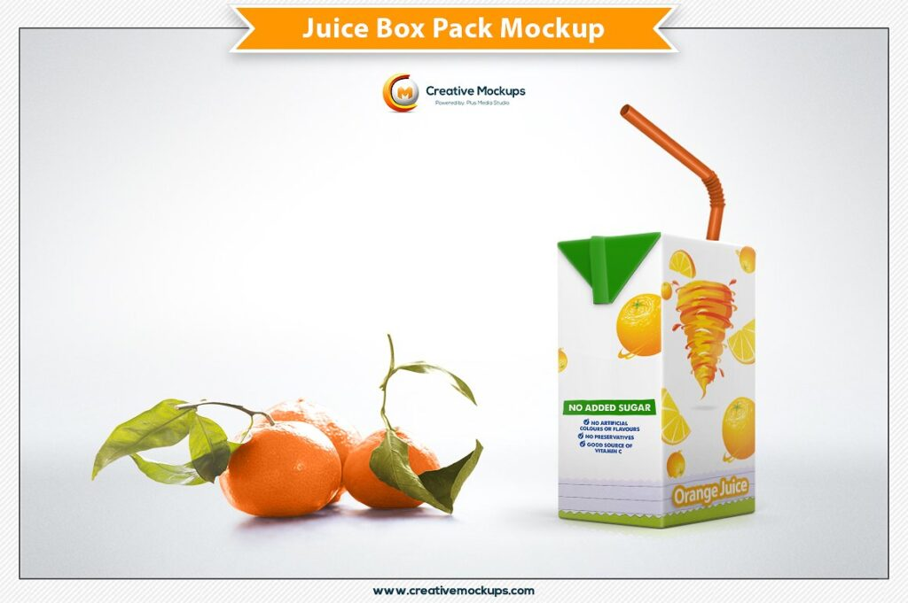 Orange Juice Box Design PSD Template