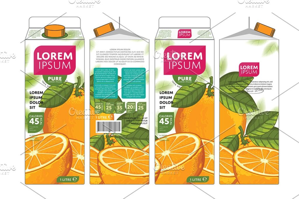 Orange Juice Packaging Box Mockup