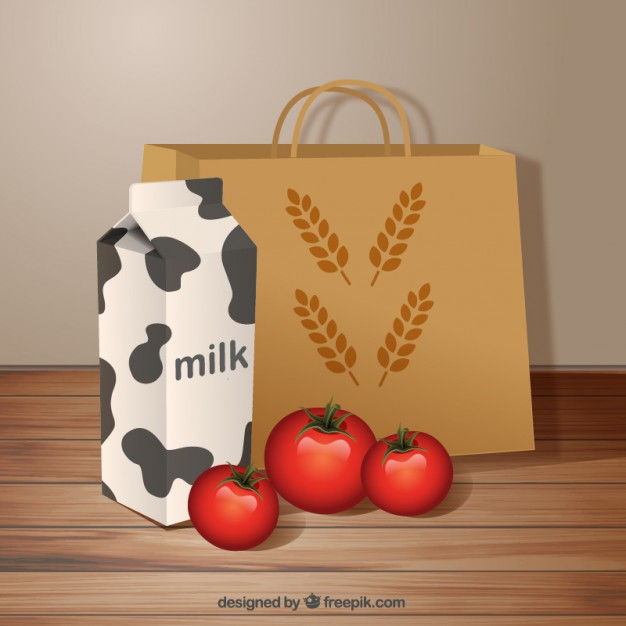 Organic Food Bag Vector Template