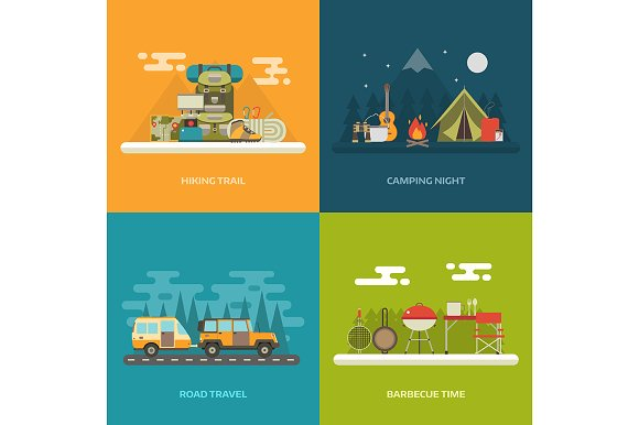 Outdoor Activity Banners Vector
